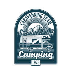 Vintage badge with classic family camper car vector