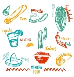Vintage Mexican Food isolated objects with vector