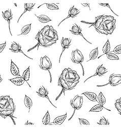 Vintage pattern of monochrome rose vector