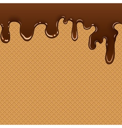 Waffle with chocolate flow vector