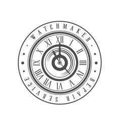 Watchmaker repair service logo monochrome vintage vector
