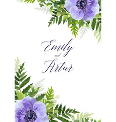 wedding floral invitation save date card vector image