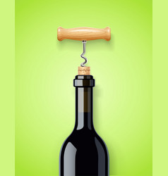 wine bottle with bottle-screw vector image