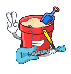 with guitar sand bucket mascot cartoon vector image