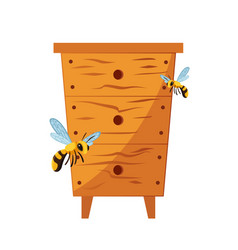 wood hive for bees with bees around vector image