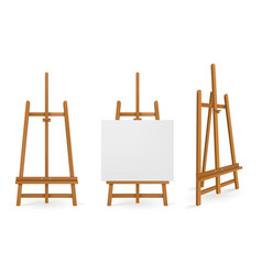 wooden easels or painting art boards white canvas vector image