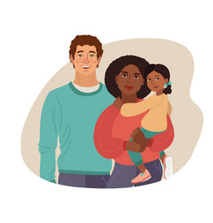 Young smiling family portrait african-american vector