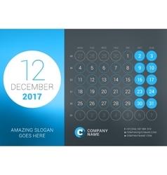 Calendar Template for December 2017 Design vector image vector image