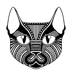 Ethnic patterned ornate decorative face cat vector image