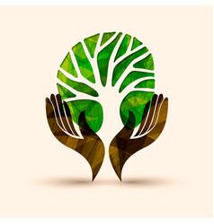 hand tree green nature people help vector image