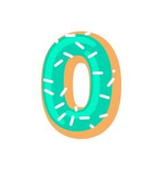 number 0 donut doughnut font zero sweet alphabet vector image vector image