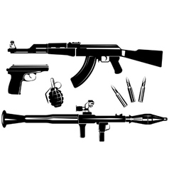 Set of firearms vector image vector image