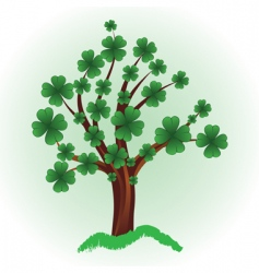 tree with four leaf clover vector image