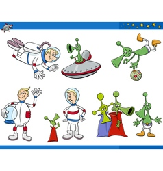 aliens and astronaut cartoon set vector image