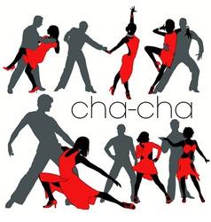 chacha dancers set vector image vector image