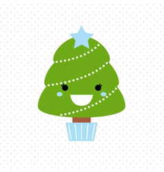 Cute christmas tree isolated on dotted background vector image vector image