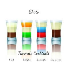 Favorite shot cocktails set isolated vector image
