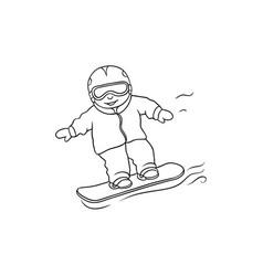 flat boy teen kid snowboarding vector image