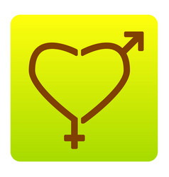 gender signs in heart shape brown icon at vector image
