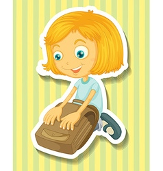 Girl packing her schoolbag vector image