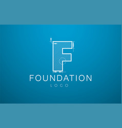 logo template letter f in the style of a vector image vector image