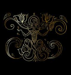 meditation yoga silhouette vector image