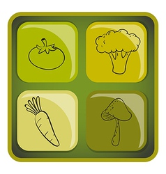 A cube with doodle images of vegetables vector