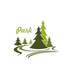 Flowing green park icon or emblem vector image vector image