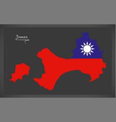 jinmen taiwan map with taiwanese national flag vector image vector image