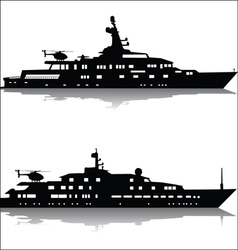 Large yachts with helicopters vector image