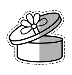 round gift box ribbon festive linea shadow vector image vector image