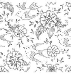Seamless pattern with swallow bird flying in vector image vector image