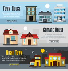 set of three horizontal house banners with vector image vector image