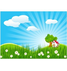 summer landscape with little house vector image vector image