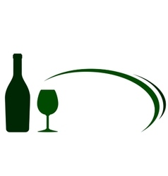 backgound with green wine bottle and glass vector image