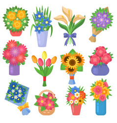 flowers bouquet set collection flat floral vector image vector image