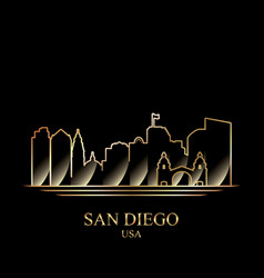 gold silhouette of san diego on black background vector image