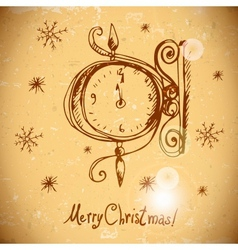 Hand-drawn vintage greeting card with clock vector image vector image