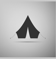 tourist tent flat icon on grey background vector image
