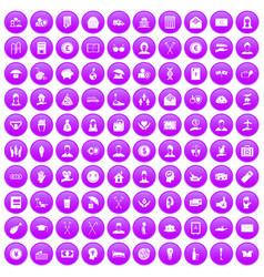 100 philanthropy icons set purple vector