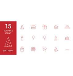 15 birthday icons vector image