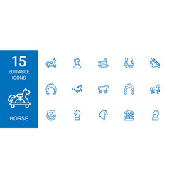 15 horse icons vector image