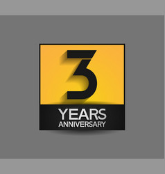 3 years anniversary in square yellow and black vector