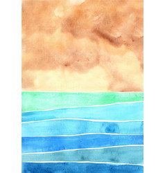 abstract ocean and sand beach watercolor vector image