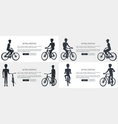Active lifestyle set of posters depicting cyclists vector