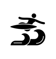Air surfing technique black glyph icon vector