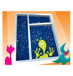 alien outside the window vector image