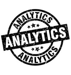 Analytics round grunge black stamp vector