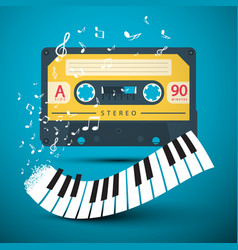 audio cassette with piano keyboard and notes on vector image