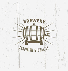 barrel of beer isolated vintage label vector image